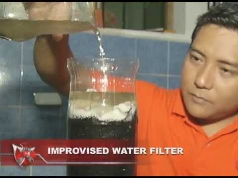 improvised water filter a way of Filters: most water filters available at stores remove 9999% of waterborne viruses, bacteria and protozoan parasites and have carbon which will improve the taste of the water.